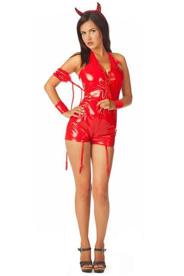 Le Frivole Огненная дьяволица, красный, Комбинезон, рожки и манжеты - Размер S-M