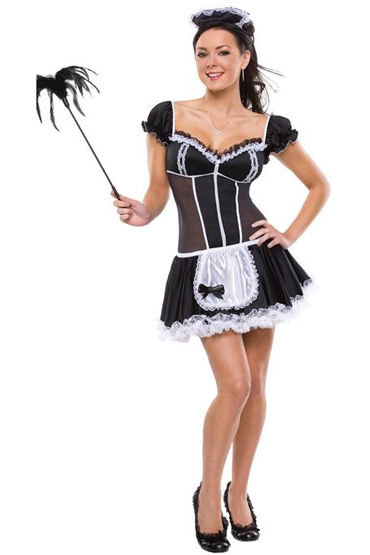 Le Frivole Роковая служанка, Мини-платье с фартучком и чепчик - Размер M-L