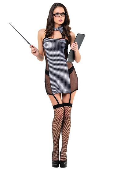 Le Frivole Школьная учительница Платье, галстук, очки, указка и чулки