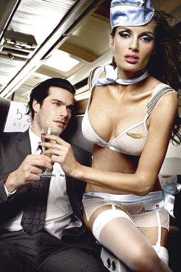 Baci Улетная Стюардесса Топ, мини-юбка, пилотка, шарф и значок