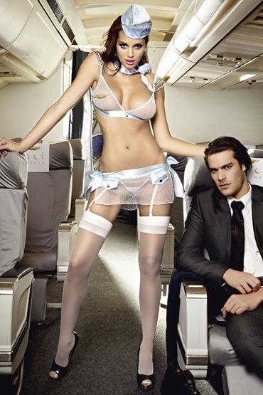 Baci Улетная Стюардесса, Топ, мини-юбка, пилотка, шарф и значок - Размер XL-XXL