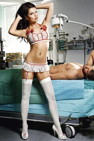 Baci Медсестра Профи, Топ и мини-юбка с подвязками - Размер S-M