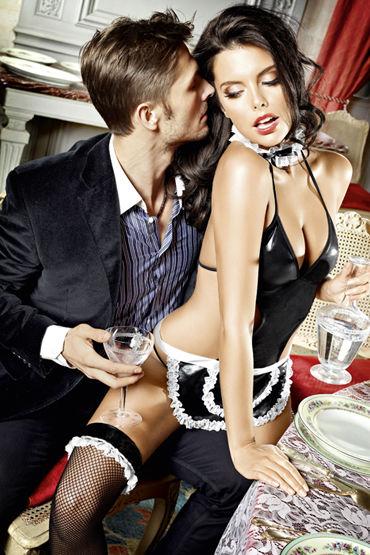 Baci Соблазнительная Официантка Боди с фартуком и воротничок