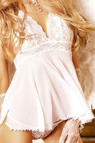 Baci комплект, белый Прозрачная сорочка и стринги