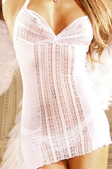 Baci мини-платье, белое Из сеточки с кружевом