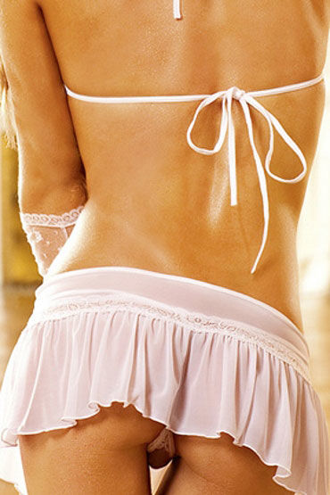 Baci комплект, белый Лиф с мини-юбкой и стрингими