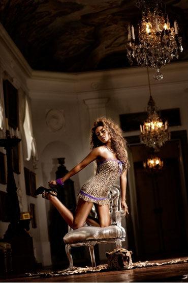 Baci мини-платье, леопардово-фиолетовое С кружевной отделкой