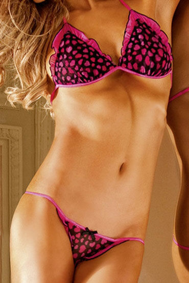 Baci комплект, черно-розовый Топ с бретелью в виде петли и стринги