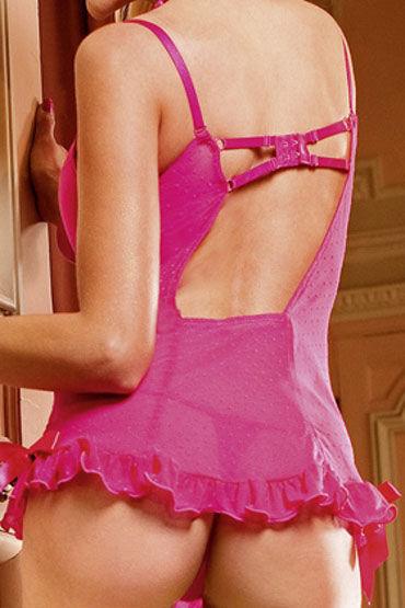 Baci мини-платье, розовое Прямого покроя, в точечку