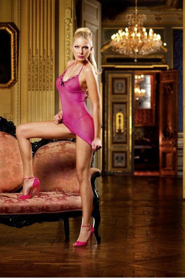 Baci мини-платье, розовое Полупрозрачное, с кружевами