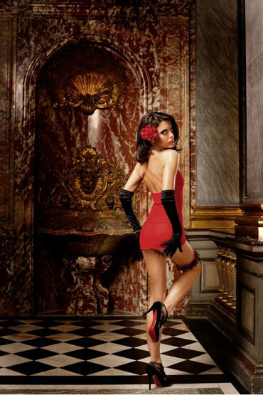 Baci мини-платье, красное Полупрозрачное, с кружевами