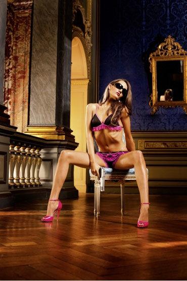 Baci комплект, черно-розовый Лиф и шортики с рюшами