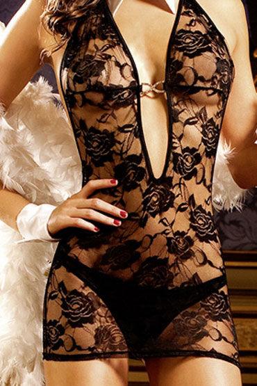 Baci мини-платье, черное С бретелью в виде петли