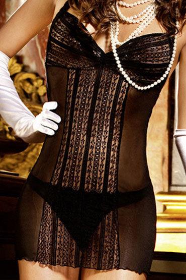 Baci мини-платье, черное Из сеточки с кружевом