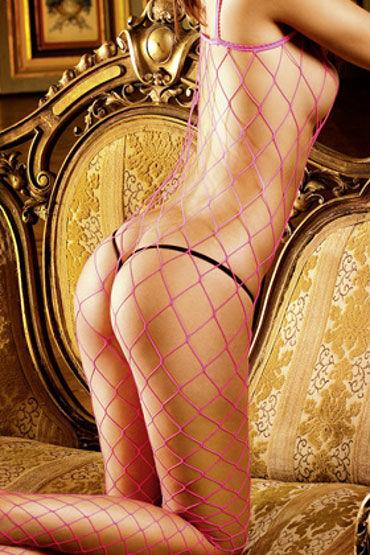 Baci кэтсьюит, розовый В крупную сетку