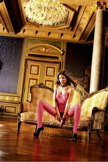 Baci кэтсьюит, розовый С открытой спиной и разрезом