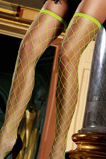 Baci чулки, неоново-зеленые В крупную сетку