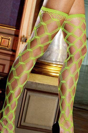 Baci чулки, неоново-зеленые В крупную ажурную сетку