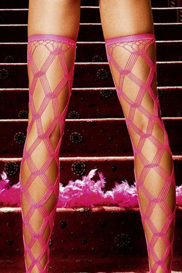 Baci чулки, неоново-розовые В крупную ажурную сетку