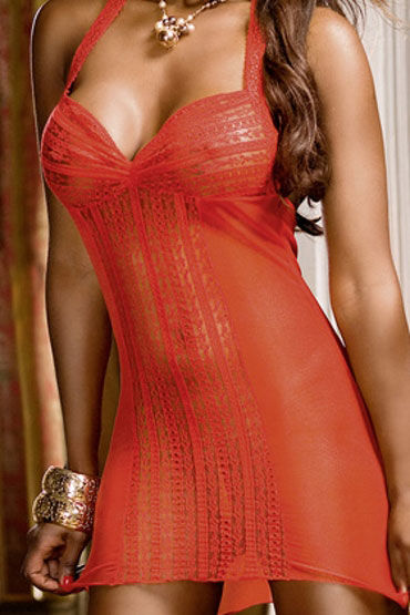 Baci мини-платье, красное Из сеточки с кружевом