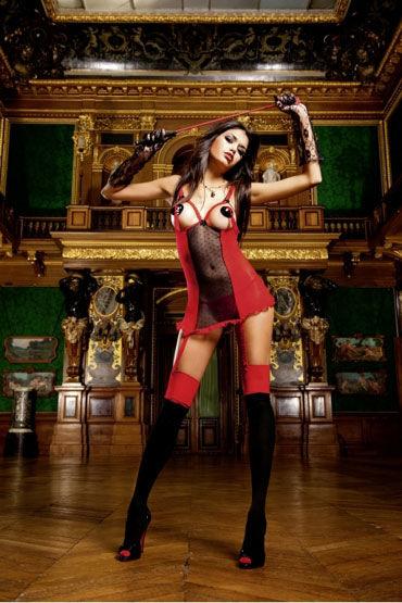 Baci мини-платье, красно-черное С V-образным вырезом на спине
