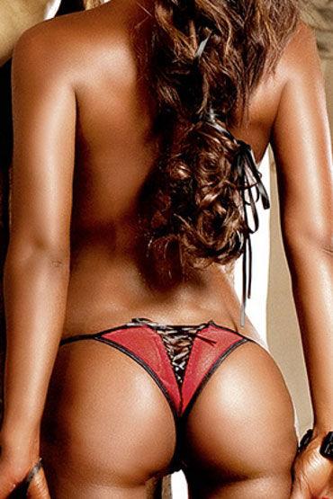 Baci трусики, красно-черные С разрезом и шнуровкой