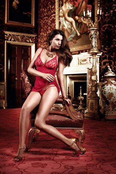 Baci комплект, бордовый, Мини-платье в горошек и стринги - Размер Универсальный (XS-L)