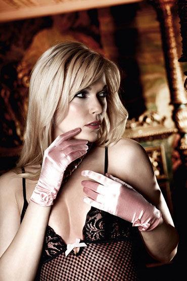 Baci перчатки, розовые, С бантиками - Размер Универсальный (XS-L)