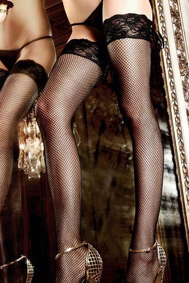 Baci чулки, черные В сеточку, со шнуровкой сзади
