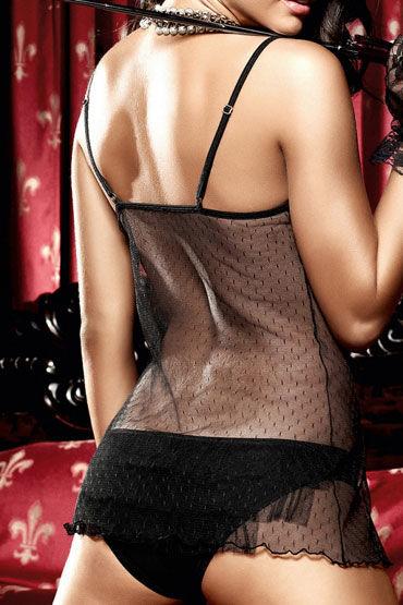 Baci мини-платье, черное Из тюлевой ткани в точечку