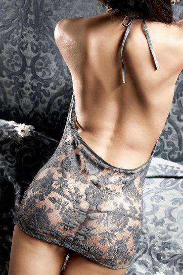 Baci мини-платье, антрацитовое С завязками за шее