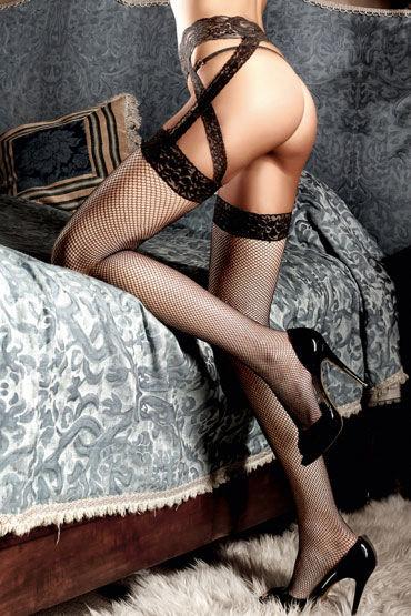 Baci чулки, черные Кружевные, с подвязками
