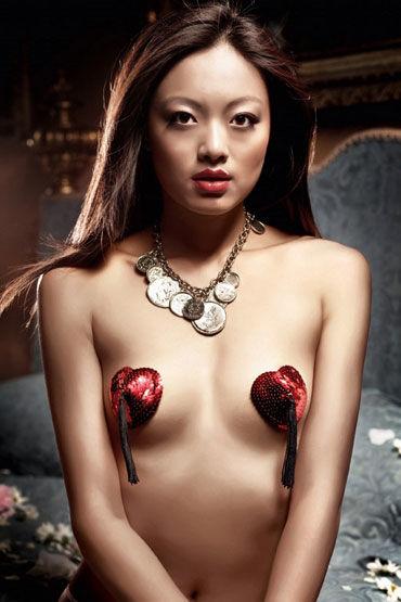 Baci накладки на соски, красные В форме сердца, с кисточками
