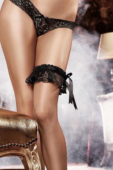 Baci подвязка, черная, Кружевная, с большим бантом - Размер Универсальный (XS-L) от condom-shop.ru