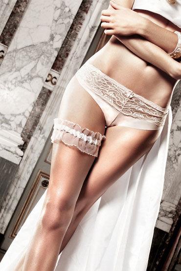 Baci подвязка, белая, Из тюля с рюшечками - Размер Универсальный (XS-L) от condom-shop.ru