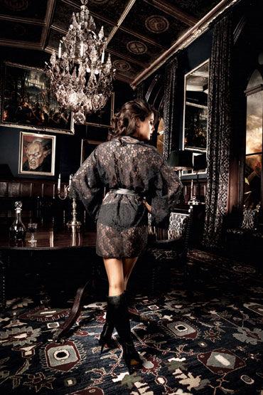 Baci кимоно, черное Кружевное, с поясом
