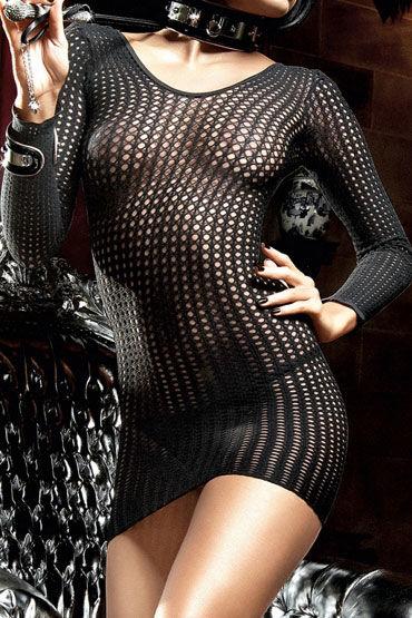 Baci мини-платье, черное В сеточку, классического кроя