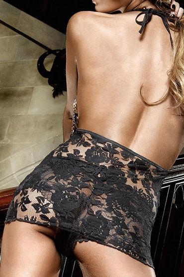 Baci мини-платье, черное С завязками за шее