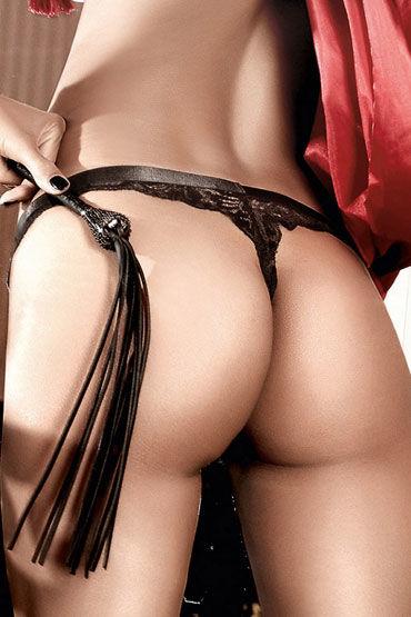 Baci G-стринги, черные Кружевные, с сатиновой манжеткой