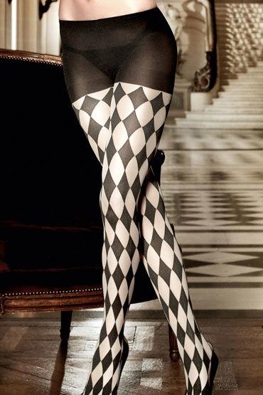 Baci колготки, черные С шахматным узором