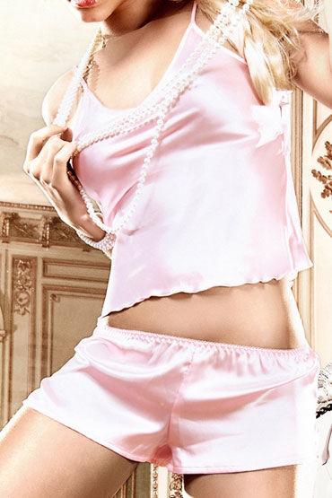 Baci комплект, розовый Сатиновые маечка и шортики