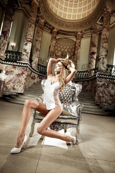 Baci мини-платье, белое Из тюлевой ткани в точечку