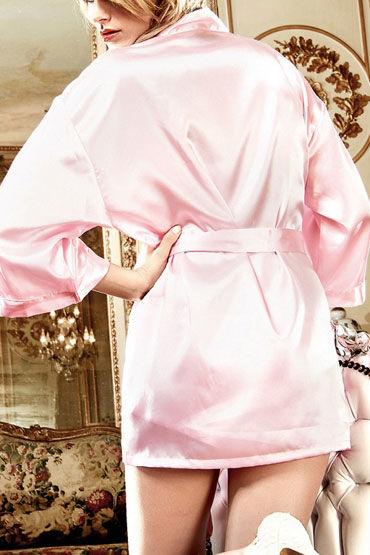 Baci кимоно, розовое Сатиновое, с поясом