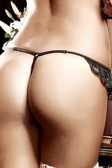 Baci G-стринги, черно-розовые Из тюлевой ткани, в полосочку