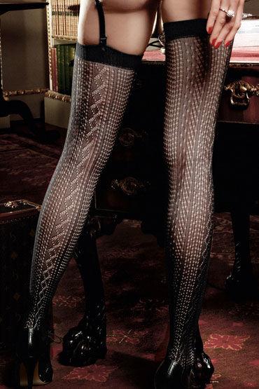 Baci чулки, черные С узорами в виде вышивки