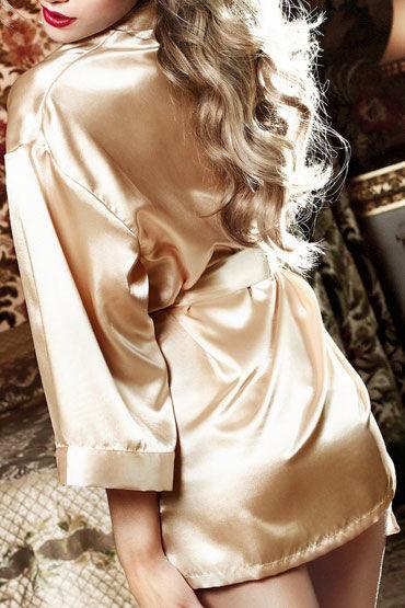 Baci кимоно, золотистое Сатиновое, с поясом