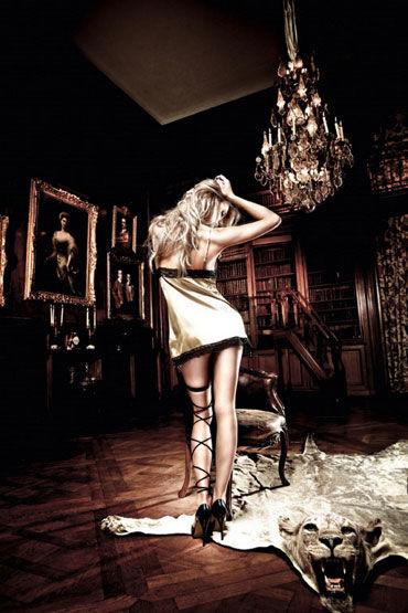Baci мини-платье, золотисто-черное С нежной кружевной отделкой