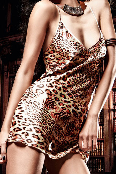 Baci мини-платье, леопард Сатиновое
