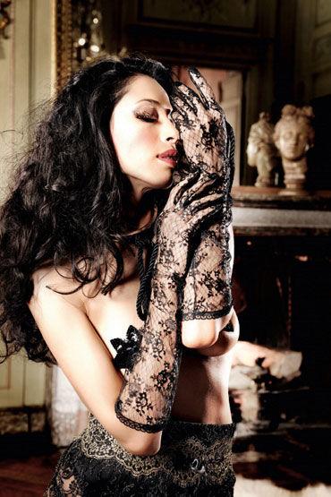 Baci перчатки, черные Длинные, кружевные