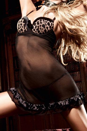 Baci мини-платье, леопардово-черное Из тюлевой ткани